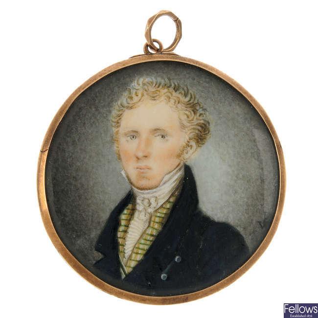 A late 19th century portrait miniature pendant.