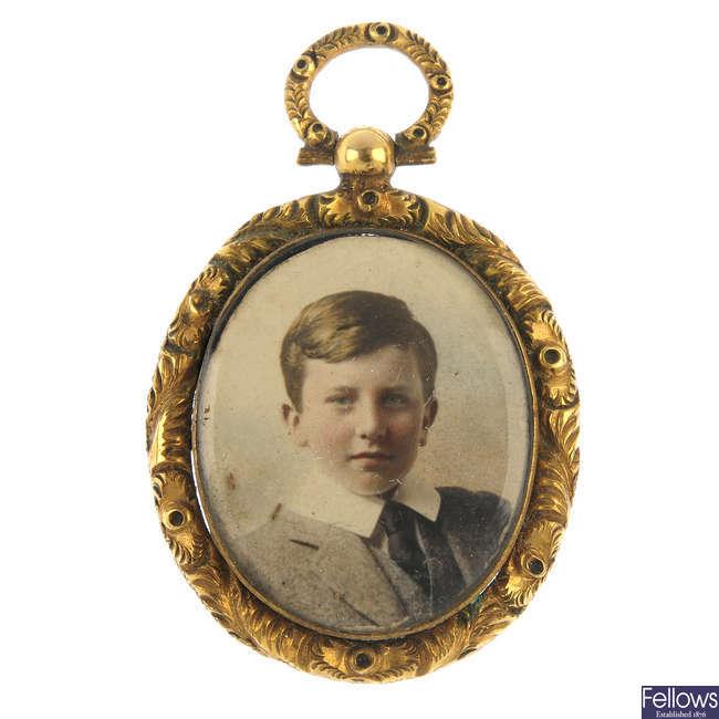 A mid 19th century portrait pendant.