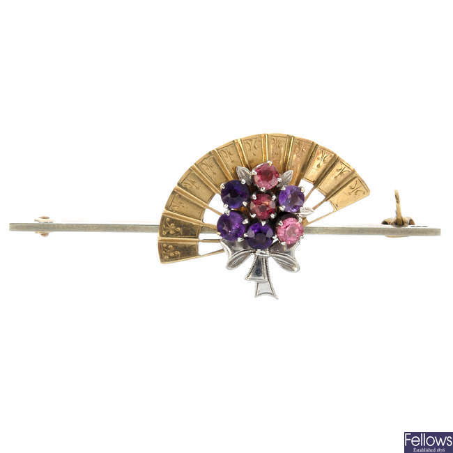 A mid 20th century 9ct gold gem-set fan brooch, by Alabaster and Wilson.