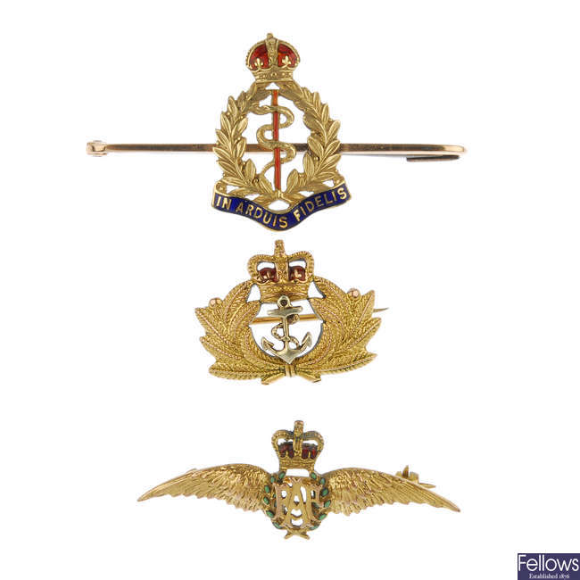 A selection of three military bar brooches.