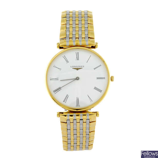 LONGINES - a gentleman's bi-colour La Grande Classique bracelet watch.