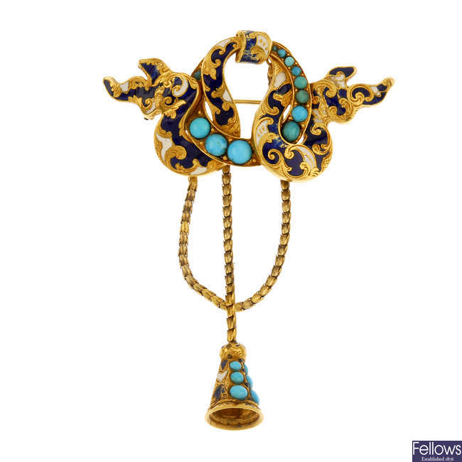 A mid 19th century 15ct gold enamel and turquoise brooch