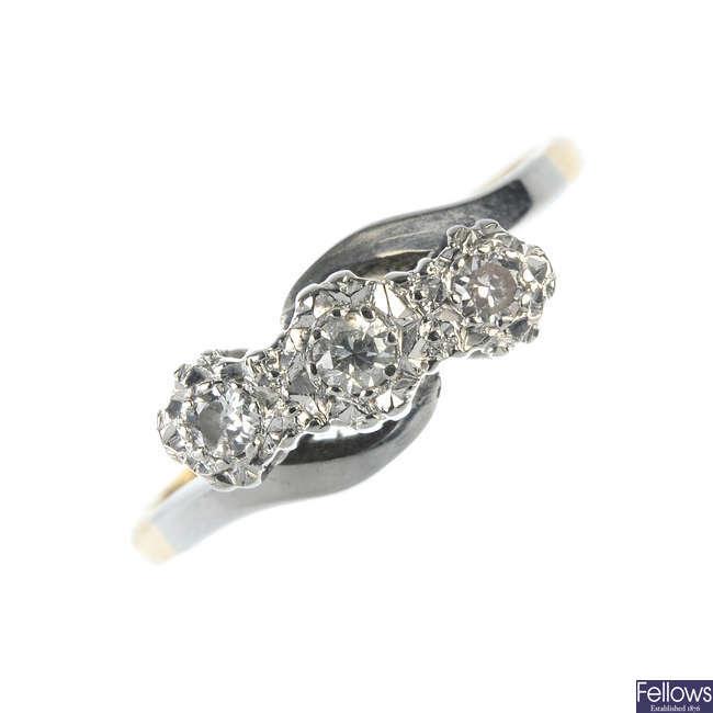 An early 20th century 18ct gold diamond three-stone ring.