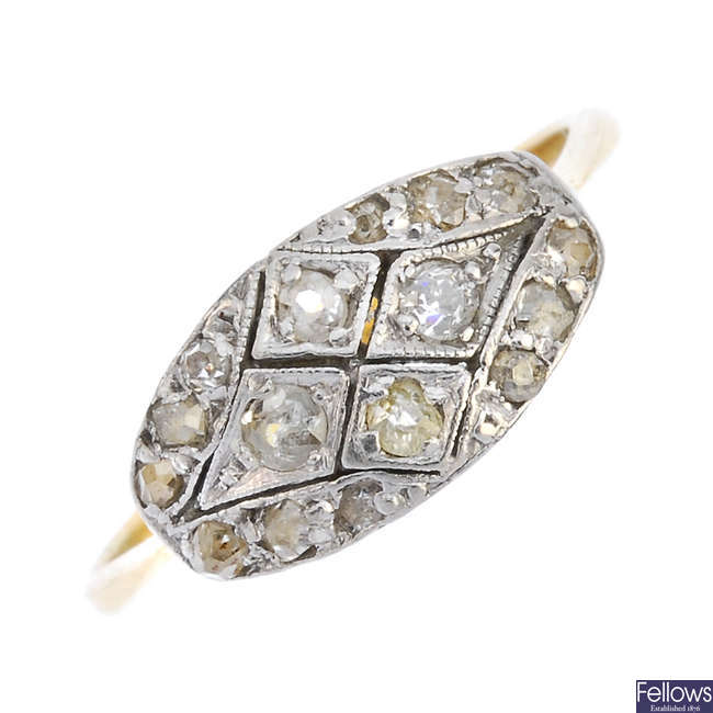 An early 20th century 18ct gold diamond panel ring.
