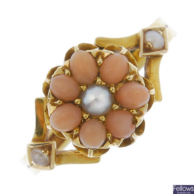 A late 19th century 18ct gold coral and split pearl ring.