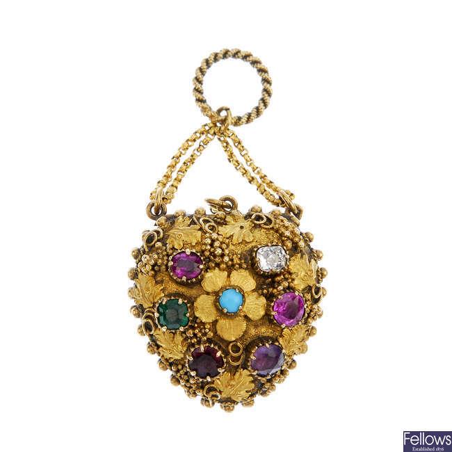 A mid 19th century gold gem-set 'Regard' locket.