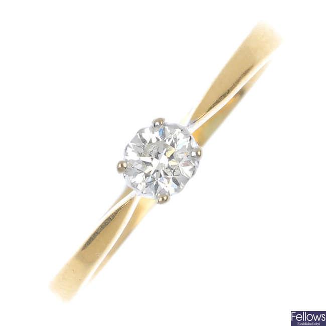 A 18ct gold diamond single-stone ring.