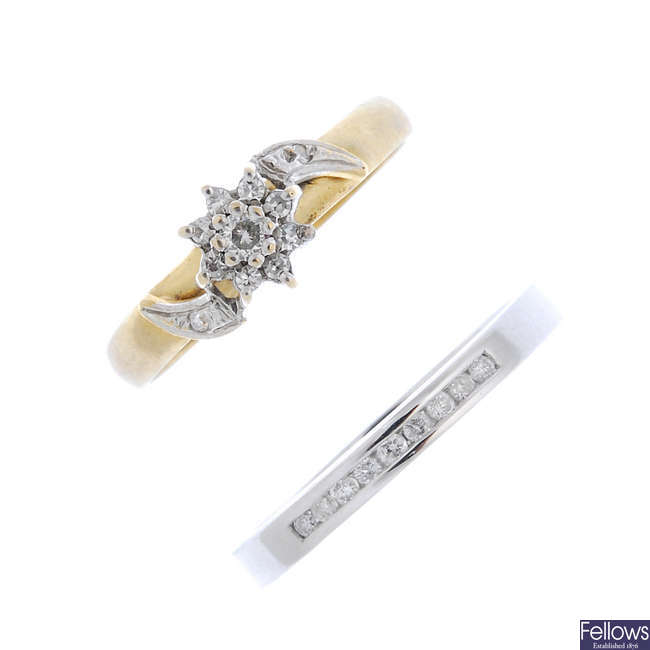 Two 9ct gold diamond rings.
