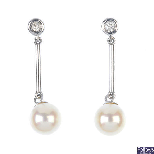 A pair of 9ct gold cultured pearl and diamond ear pendants.