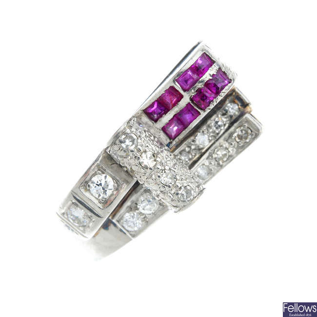 A mid 20th century diamond and ruby dress ring.