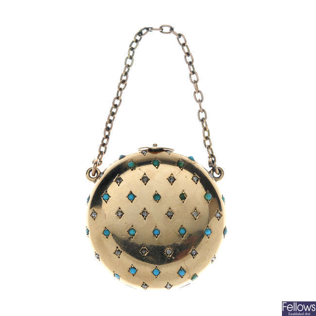 An early 20th century 9ct gold turquoise and diamond locket