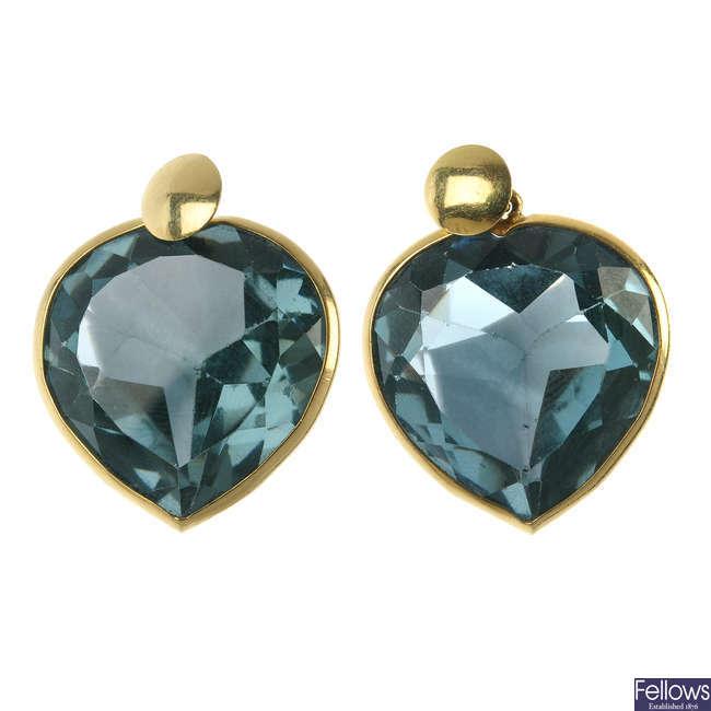 A pair of paste ear pendants.