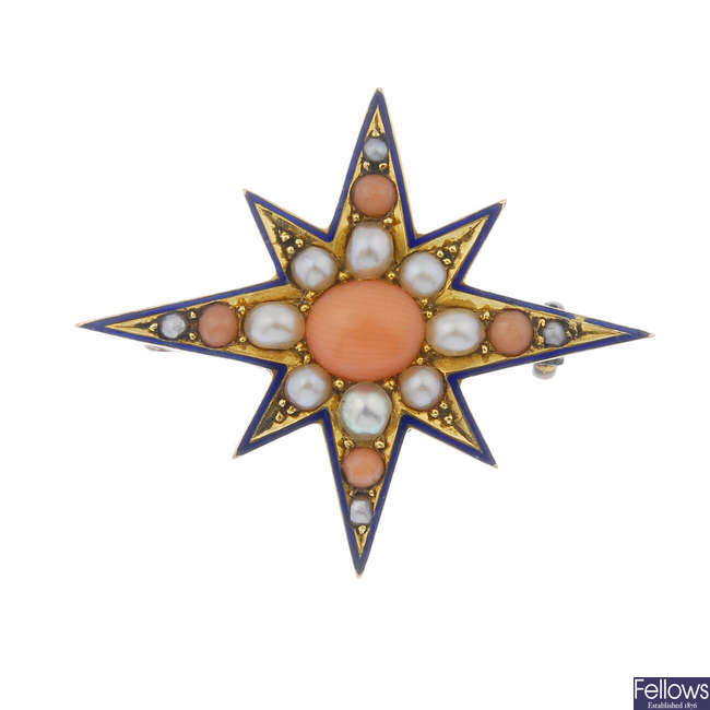 A late 19th century gold coral, split pearl and blue enamel star brooch.