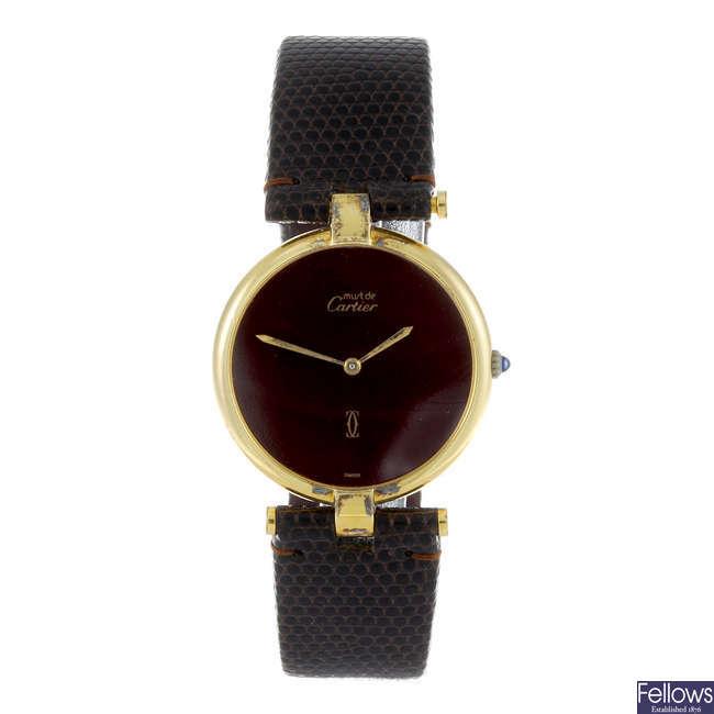 CARTIER - a gold plated silver Must De Cartier Vendome wrist watch.