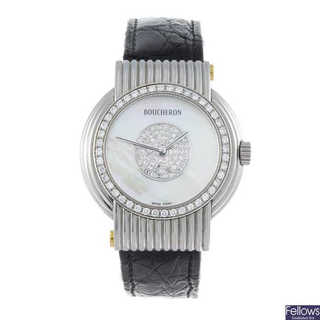 BOUCHERON - a stainless steel wrist watch.