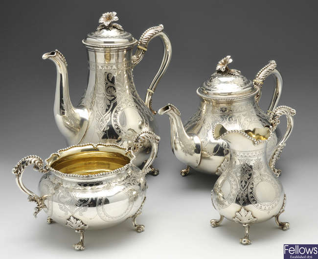 A mid-Victorian silver four piece tea service.