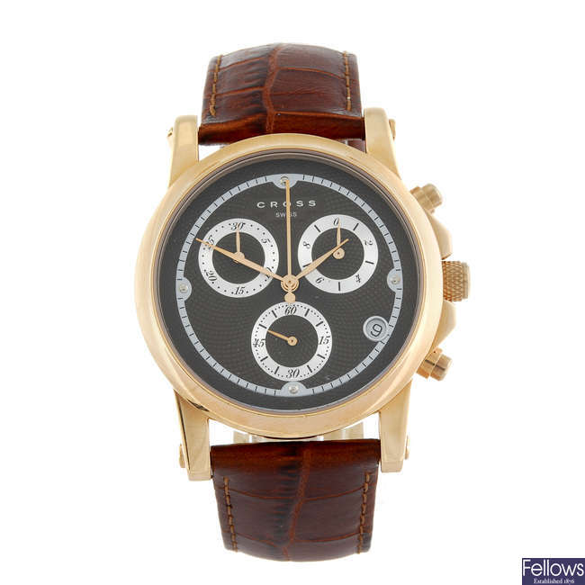 CROSS - a gentleman's gold plated Milan chronograph wrist watch with two Cross wrist watches.
