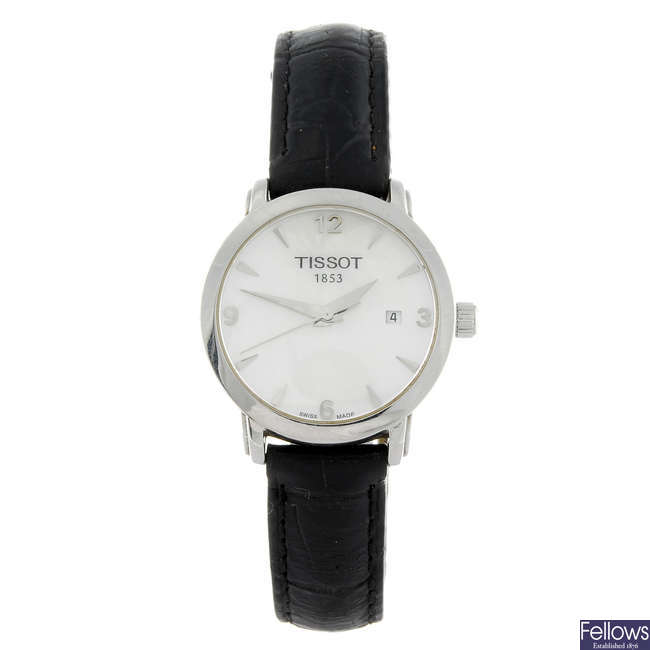 TISSOT - a lady's stainless steel wrist watch with a gentleman's Tissot chronograph wrist watch.