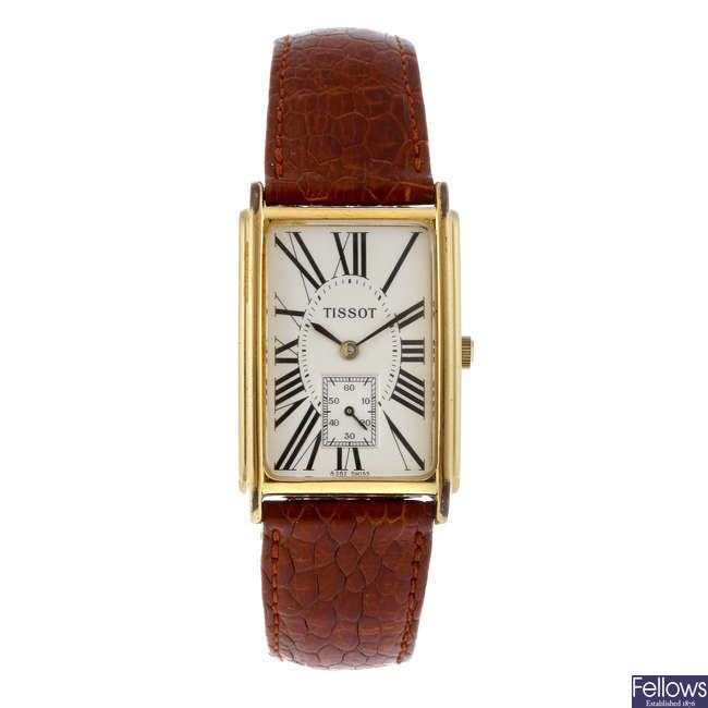TISSOT - a gentleman's gold plated wrist watch.