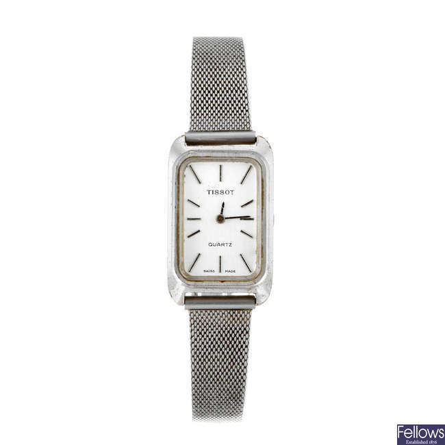TISSOT - a lady's nickel plated bracelet watch.