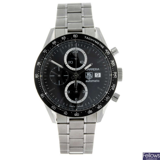 (156624) TAG HEUER - a gentleman's Carrera Juan Manuel Fangio chronograph bracelet watch.