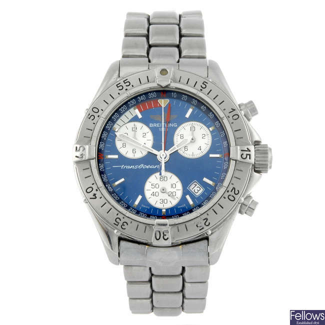 BREITLING - a gentleman's stainless steel Transocean chronograph bracelet watch.