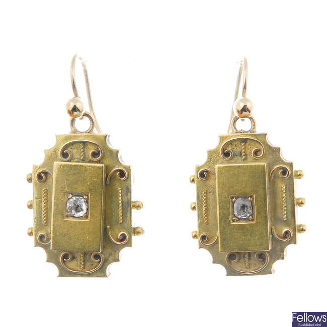 A pair of late 19th century gold diamond ear pendants.