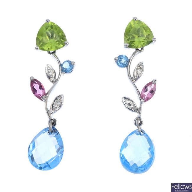 A pair of 18ct gold diamond and gem-set ear pendants.