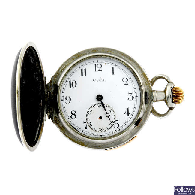 A base metal full hunter repeater pocket watch by Cyma.