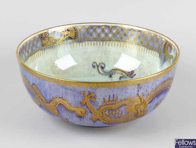 A 20th century Wedgwood dragon lustre bowl.