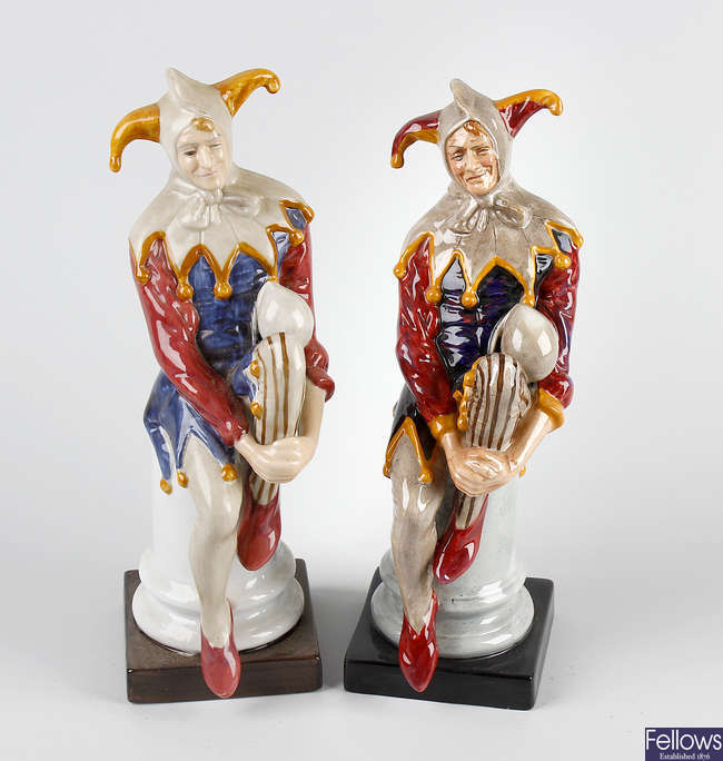 A Royal Doulton figure, 'The Jester', plus a similar figure.