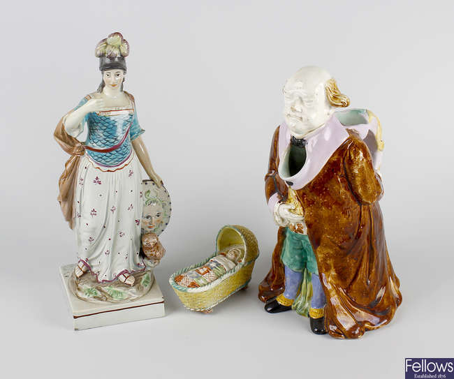 A pearlware figure modelled as Minerva, etc.