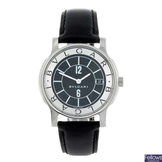 BULGARI - a gentleman's stainless steel Solotempo wrist watch.