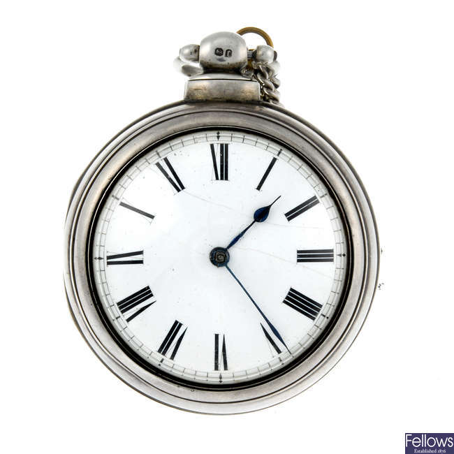 A silver pair case pocket watch by Smith & Sons.