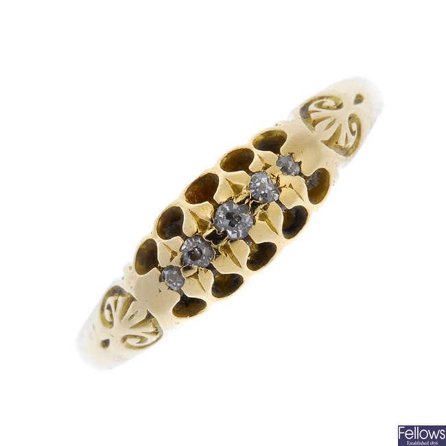 An Edwardian 18ct gold diamond ring.