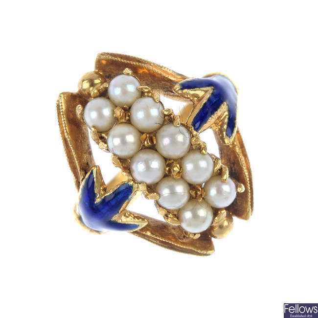 A cultured pearl and enamel dress ring.