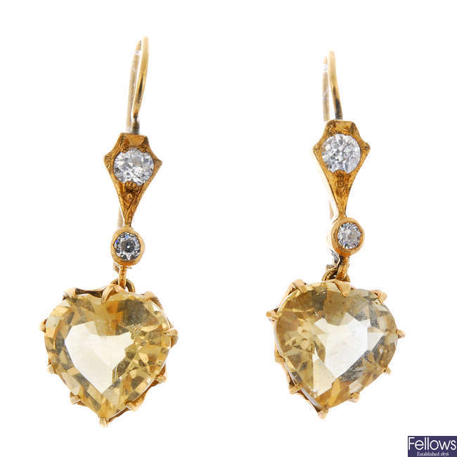 A pair of mid 20th century diamond and citrine ear pendants.