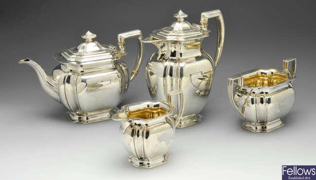 An Edwardian silver four piece silver tea service.