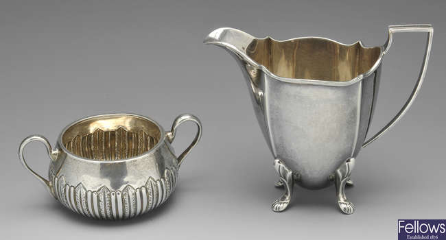 A late Victorian silver sugar bowl, etc.