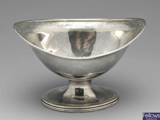 A George III silver oval bowl by Michael Plummer 1791.