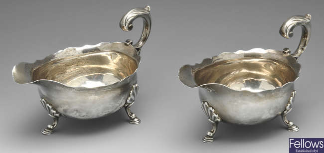 A pair of George II silver sauce boats, London 1753.