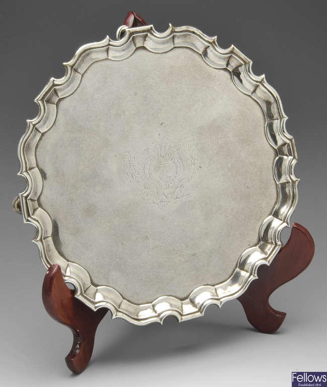 A George II silver salver by George Hindmarsh, London 1737.