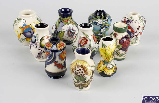 A group of ten Moorcroft modern miniature vases.