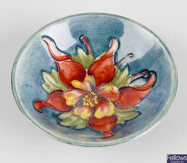A small Moorcroft Columbine pin dish.
