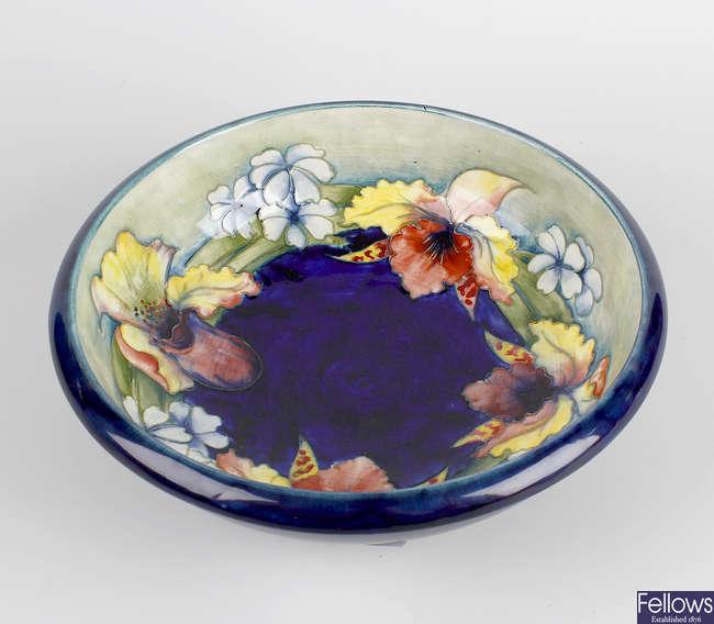 A Moorcroft orchid bowl.