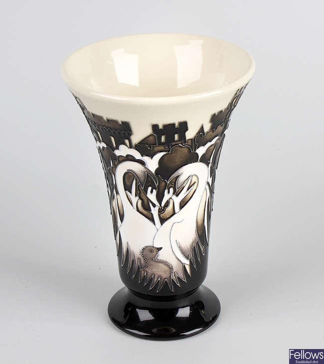A Moorcroft swan vase.