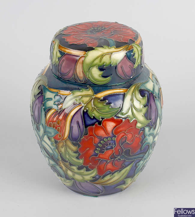 A Moorcroft limited edition ginger jar and cover.