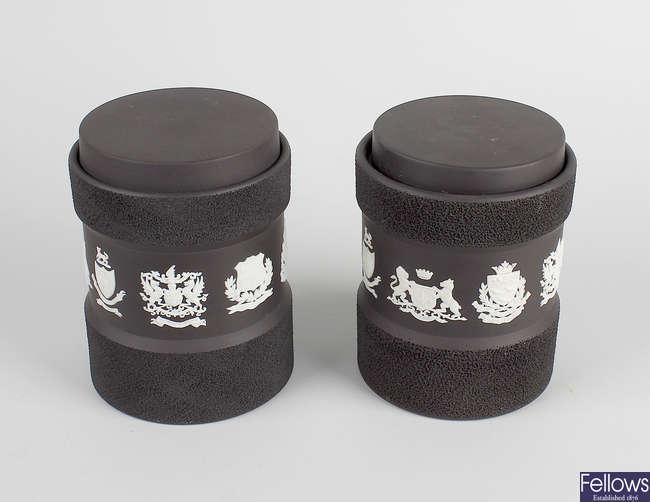 A pair of 20th century Wedgwood black basalt jars.