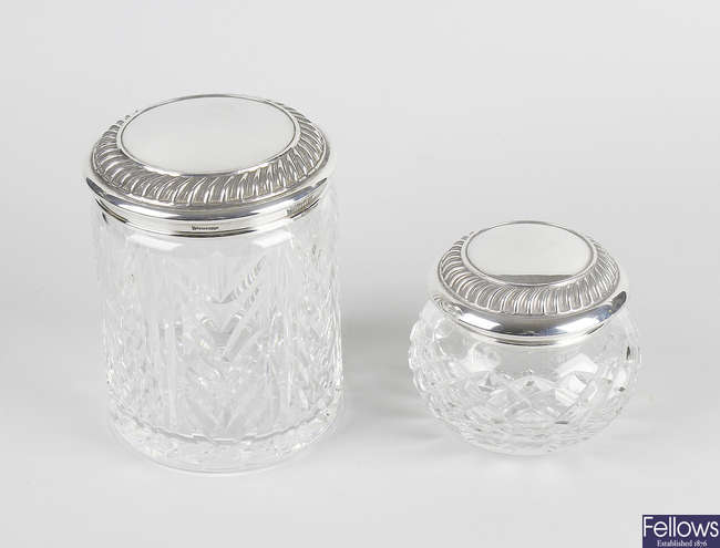 Two Waterford mounted cut glass dressing table jars.