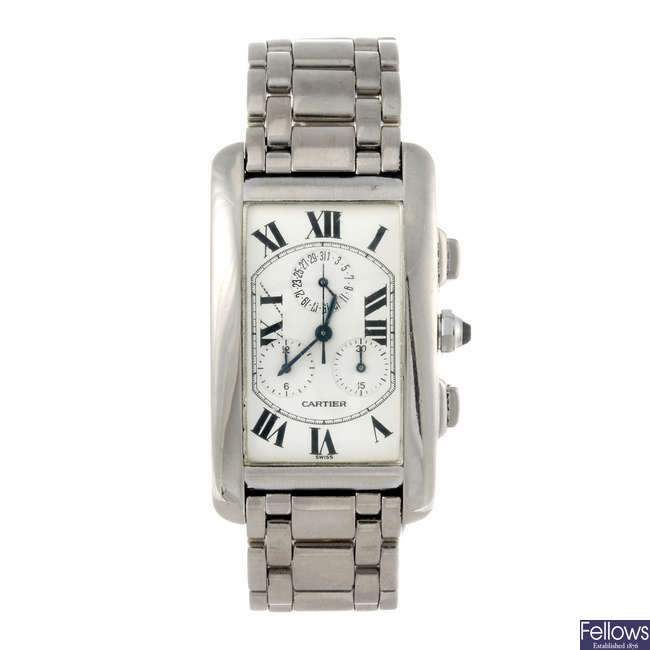 (1000650-1-A) CARTIER - an 18ct white gold Tank Americaine chronograph bracelet watch.